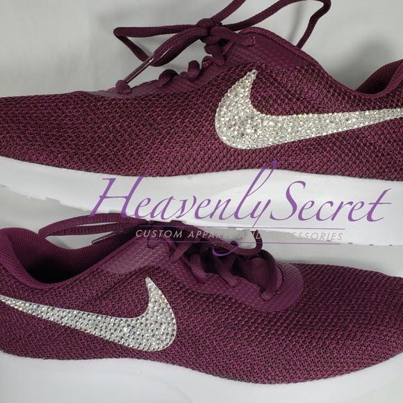 online store feb20 11e01 Custom Bling Bordeaux Womens Nike Tanjun